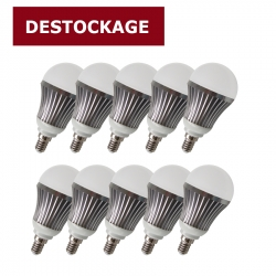 Lot de 10 lampes LED 6,5W - E14 - Blanc chaud