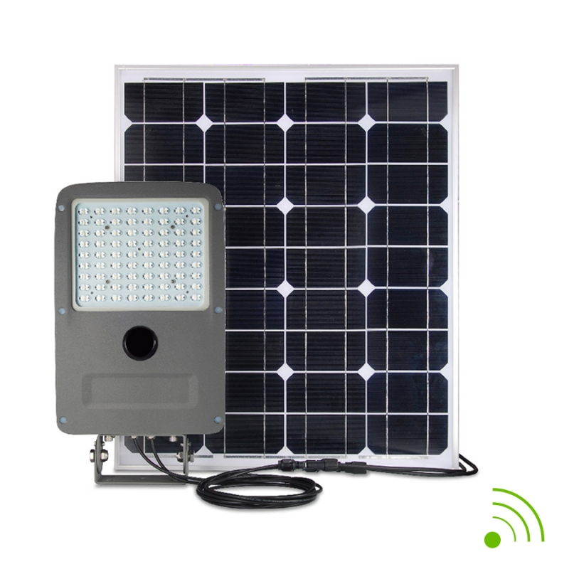 Street light autonome led 30w panneau solaire 80w avec - Projecteur solaire avec detecteur de mouvement ...