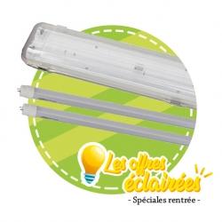 Pack 12x Réglettes doubles & 24x Tubes LED Glass 24W en 1500 mm
