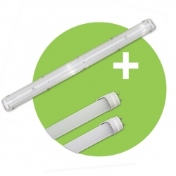 PACK - Tubes LED Glass 18 W + Réglette vierge double - 120 cm - PROMO DE NOVEMBRE - PRIX NET