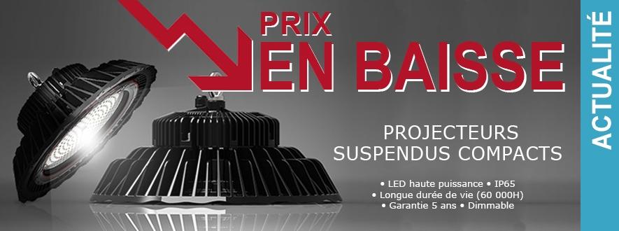 Projecteurs suspendus compacts, prix en baisse.