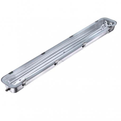Réglette vierge double inox pour tubes LED  120 cm