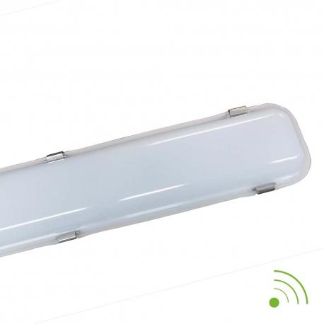 Réglette LED intégrée 60W avec détecteur - câblage traversant - 6000K - IP65 - 1575 mm - Soline